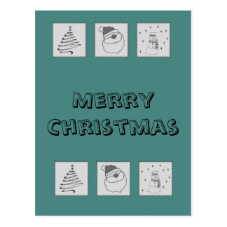 Trendy cute funny Christmas patchwork holiday Postcard