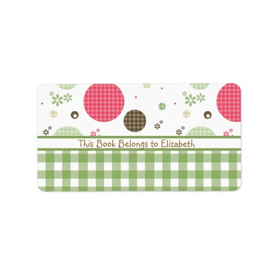 Trendy Cute Gingham Polka Dots With Name Address Label