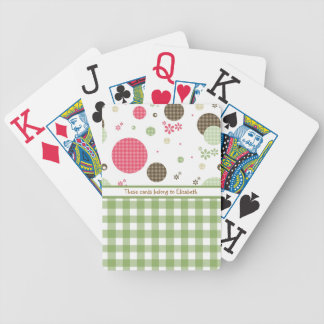 Trendy Cute Gingham Polka Dots With Name Bicycle Playing Cards
