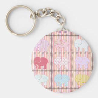 Trendy cute girly patchwork colorful elephants keychains