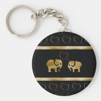 Trendy cute luxury  black /golden elephant in love basic round button key ring