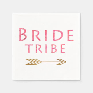 trendy cute pink bride tribe gold arrow design disposable napkins