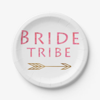 trendy cute pink bride tribe gold arrow design paper plate