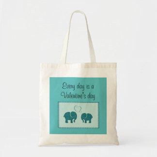 Trendy cute romantic elephants in love patchwork tote bag