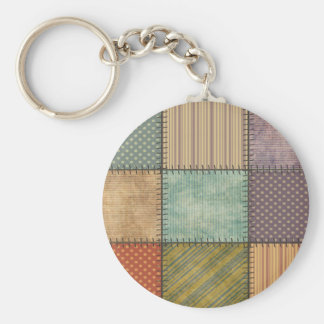 Trendy cute vintage retro colorful patchwork keychain