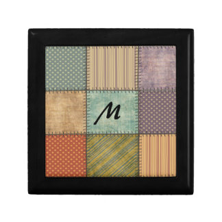 Trendy cute vintage retro colorful patchwork small square gift box