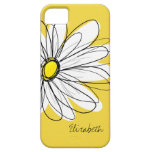 Trendy Daisy Floral Illustration - blackand yellow iPhone 5 Cover