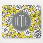 Trendy Daisy Floral Illustration - grey and yellow Mousemats