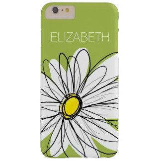 Trendy Daisy Floral Illustration - lime and yellow Barely There iPhone 6 Plus Case
