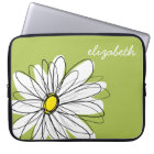 Trendy Daisy Floral Illustration - lime and yellow Laptop Sleeve
