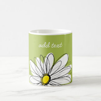 Trendy Daisy Floral Illustration - lime and yellow Mug
