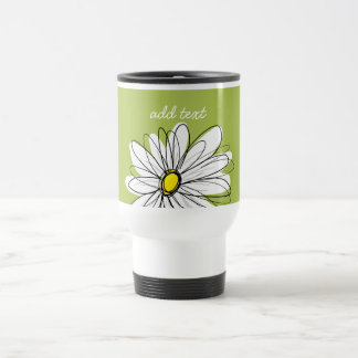 Trendy Daisy Floral Illustration - lime and yellow Coffee Mugs