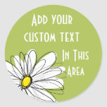 Trendy Daisy Floral Illustration - lime and yellow Round Sticker