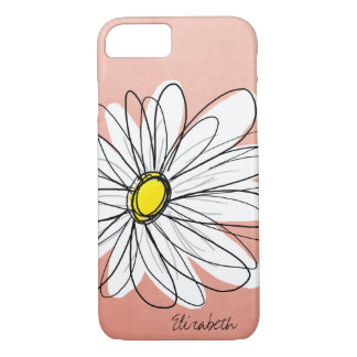 Trendy Daisy Floral Illustration - rose gold iPhone 8/7 Case