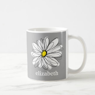 Trendy Daisy with gray and yellow Basic White Mug