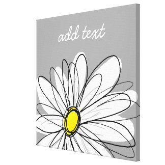 Trendy Daisy with gray and yellow Stretched Canvas Prints