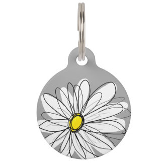 Trendy Daisy with gray and yellow Pet Tag