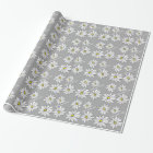 Trendy Daisy with grey and yellow Wrapping Paper