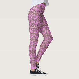 Trendy Damask Design Leggings - Plum