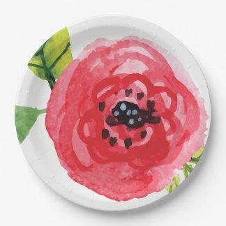 Trendy Dark Pink Watercolor Flower | Paper Plate