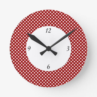 Trendy dark red and White polka dots with numbers Round Clock