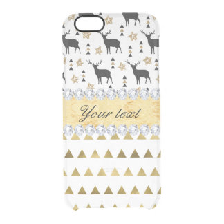 Trendy Deer Triangles Pattern and Diamonds Clear iPhone 6/6S Case