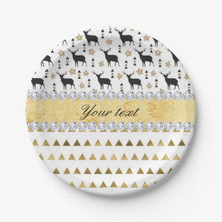 Trendy Deer Triangles Pattern and Diamonds Paper Plate