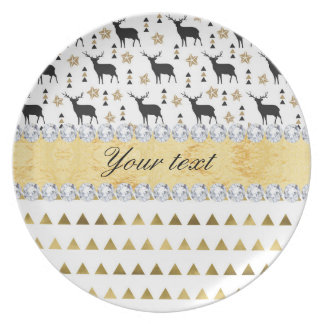 Trendy Deer Triangles Pattern and Diamonds Plate