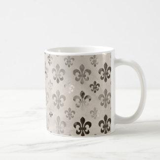 Trendy Distressed Silver Grey Fleur De Lis Pattern Basic White Mug