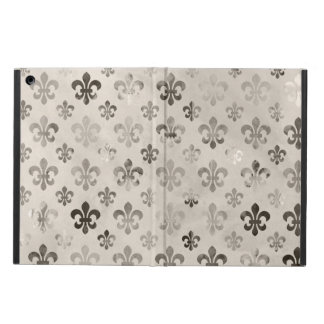 Trendy Distressed Silver Grey Fleur De Lis Pattern Case For iPad Air