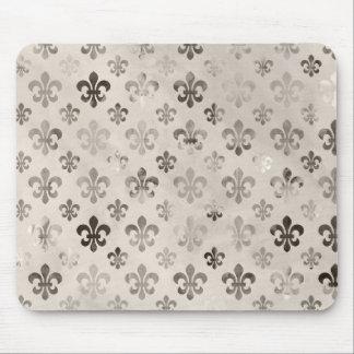 Trendy Distressed Silver Grey Fleur De Lis Pattern Mouse Pad