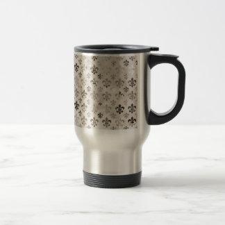 Trendy Distressed Silver Grey Fleur De Lis Pattern Stainless Steel Travel Mug