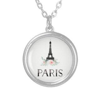 Trendy Eiffel Tower and Blush Pink Flowers | Paris Silver Plated Necklace