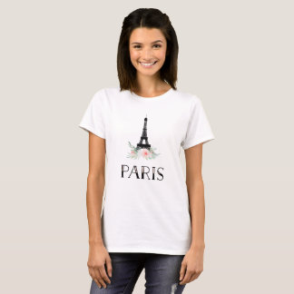 Trendy Eiffel Tower and Blush Pink Flowers | Paris T-Shirt