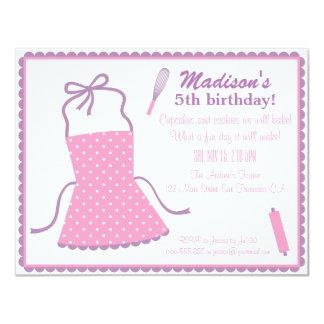 Trendy Elegant Apron Cooking Baking Birthday Party 11 Cm X 14 Cm Invitation Card