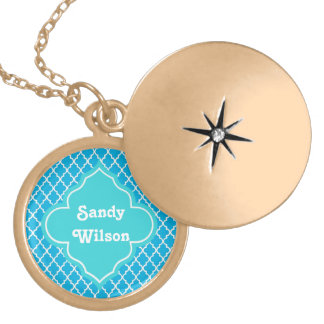 Trendy, elegant, cool, modern aqua blue quatrefoil pendants
