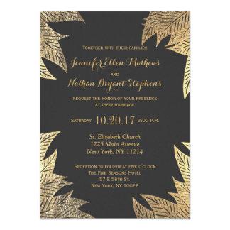 Trendy Elegant Gold Faux Drawn Leaf Pattern 11 Cm X 16 Cm Invitation Card