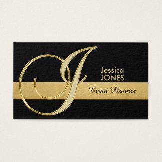 Trendy Elegant Monogrammed Gold Black Initial 'J' Business Card