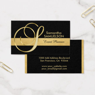 Trendy Elegant Monogrammed Gold Black Initial 'S' Business Card