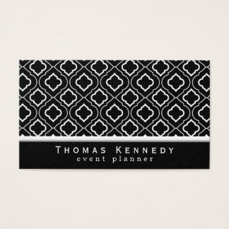 Trendy Elegant Pattern Business Cards Black
