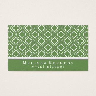 Trendy Elegant Pattern Business Cards Green