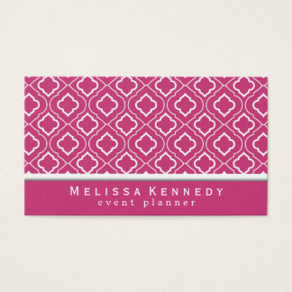 Trendy Elegant Pattern Business Cards Hot Pink