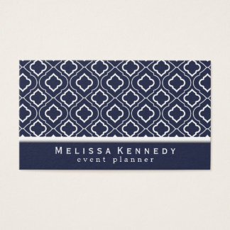 Trendy Elegant Pattern Business Cards Navy Blue