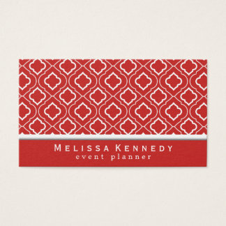 Trendy Elegant Pattern Business Cards Red