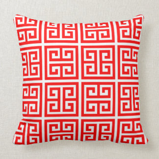 Trendy Elegant Red Greek Key Pattern Cushion