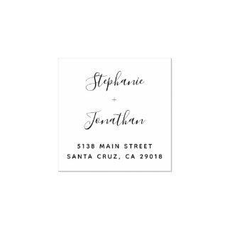 Trendy Elegant Typography Wedding Return Address Rubber Stamp