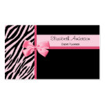 Trendy Event Planner Pink and Black Zebra With Bow Business Cards