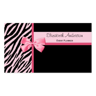 Trendy Event Planner Pink and Black Zebra With Bow Pack Of Standard Business Cards