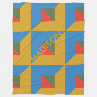 Trendy Fall Geometric Color Block Monogram Autumn Fleece Blanket