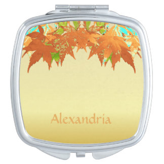 Trendy Fall Gold Japanese Maple Leaves Canopy Mirror For Makeup